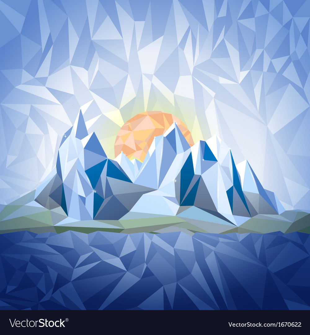 Stylized landscape with mountains vector | Price: 3 Credit (USD $3)