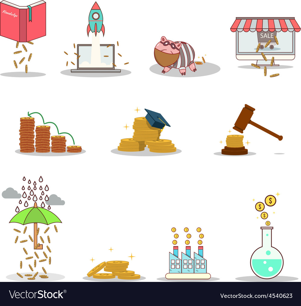Business and investment isolated cartoon pack vector | Price: 1 Credit (USD $1)