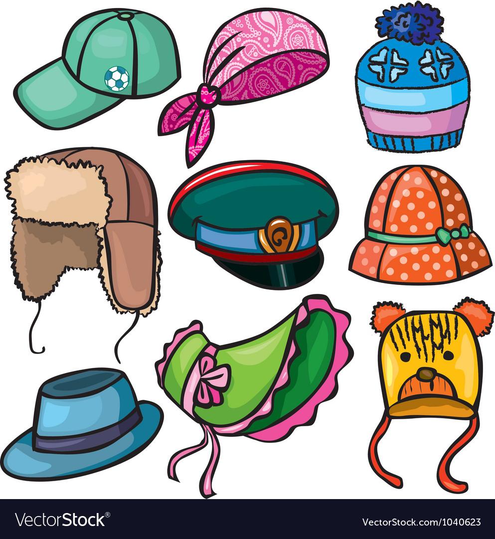 Headwear set of icons vector | Price: 1 Credit (USD $1)