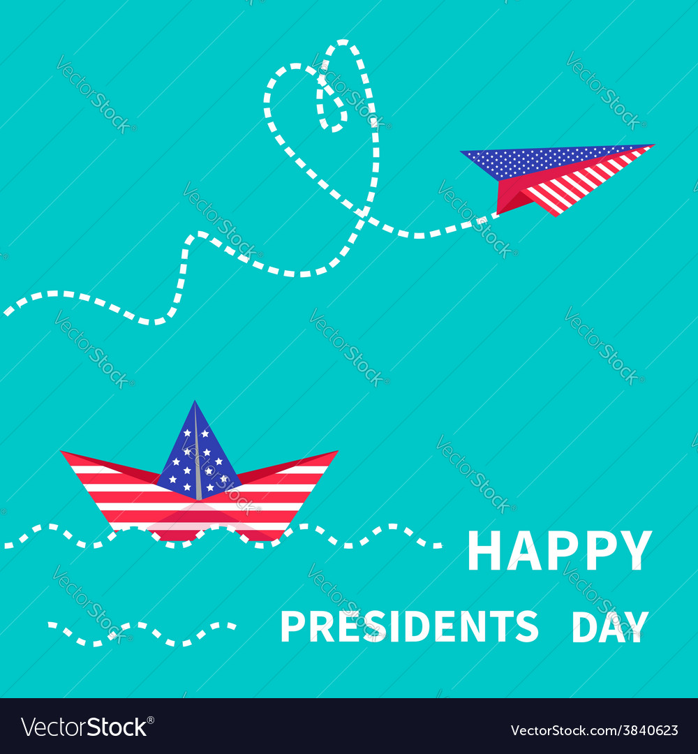 Presidents day background paper boat and vector | Price: 1 Credit (USD $1)
