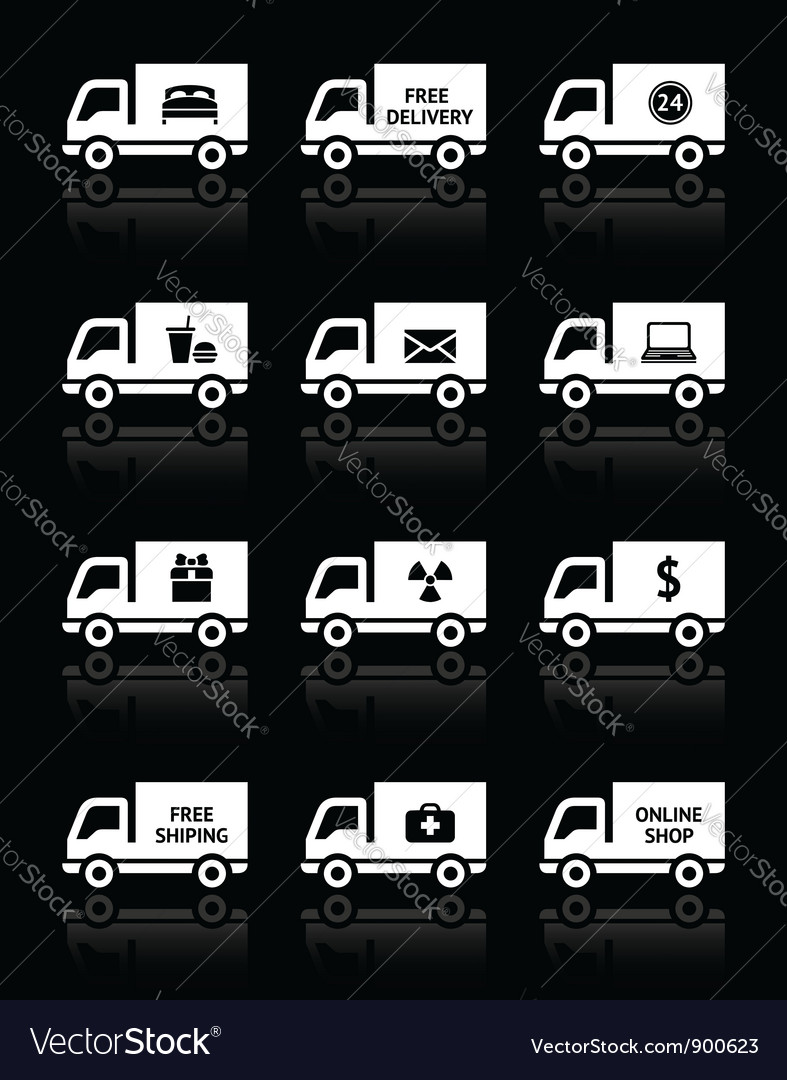 Set of truck icons - free delivery vector | Price: 1 Credit (USD $1)