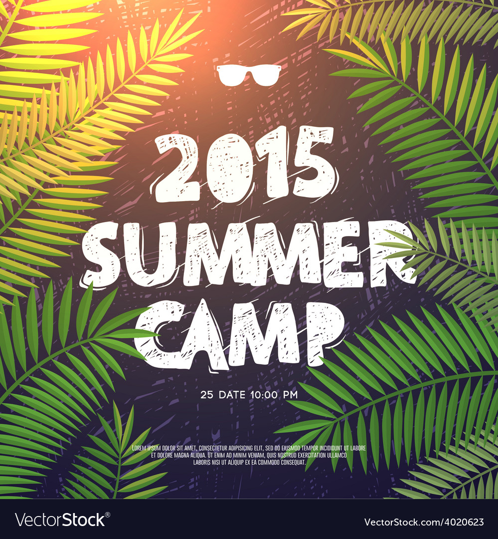 Summer camp poster vector | Price: 1 Credit (USD $1)