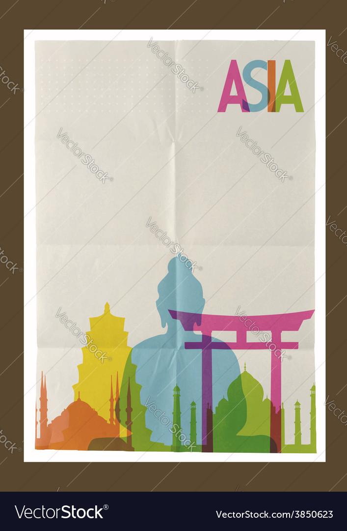 Travel asia landmarks skyline vintage background vector | Price: 1 Credit (USD $1)