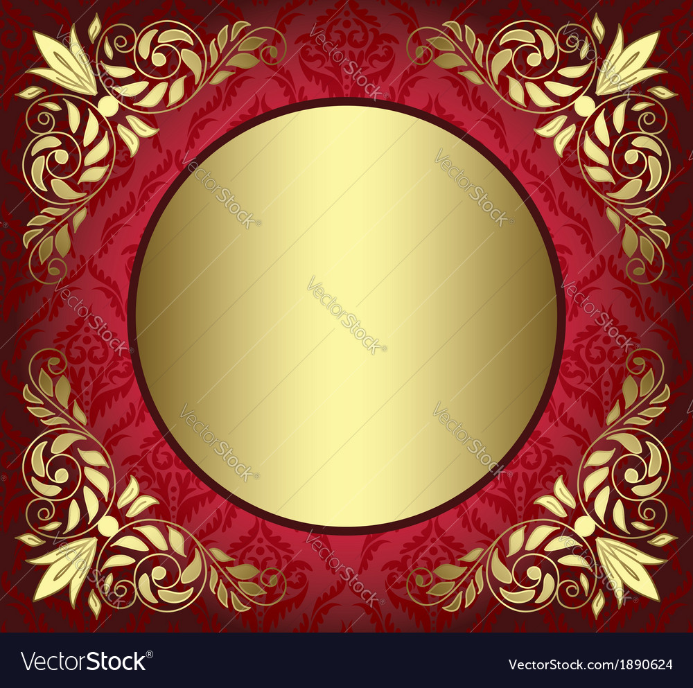 Red card with golden decor in the corners vector | Price: 1 Credit (USD $1)