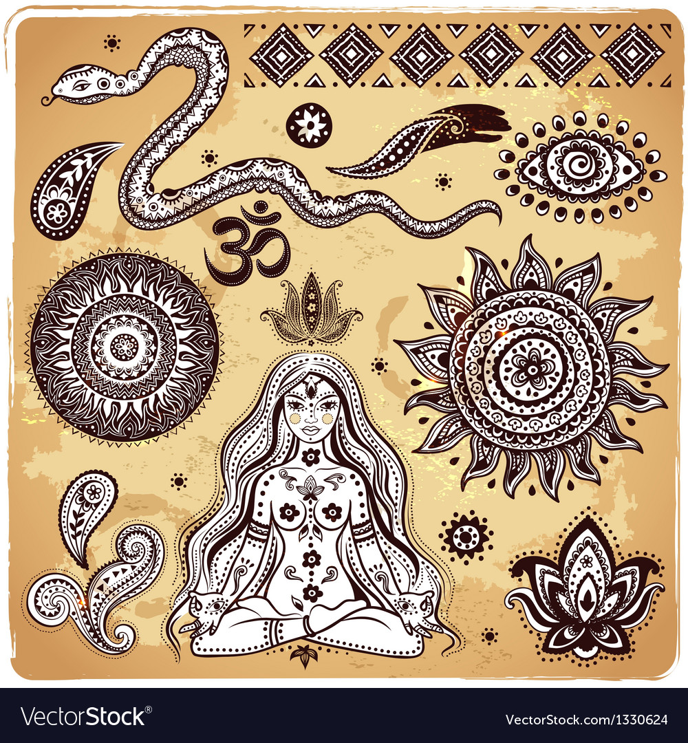 Set of ornamental indian elements and symbols vector | Price: 3 Credit (USD $3)
