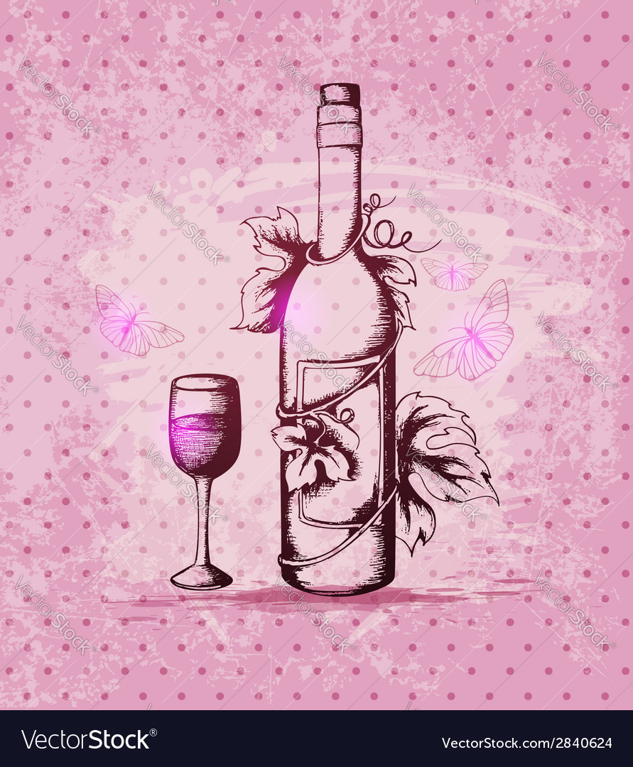 Vintage hand drawn bottle of wine vector | Price: 1 Credit (USD $1)