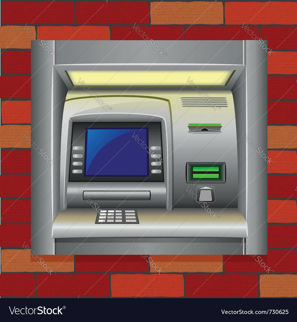 Atm on a brick wall vector | Price: 3 Credit (USD $3)