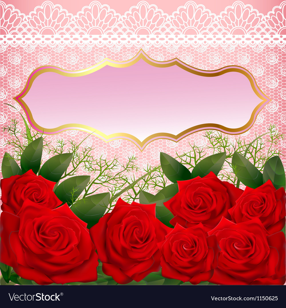 Background with red roses and lace vector | Price: 1 Credit (USD $1)