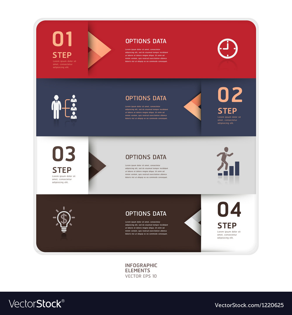 Business step up options origami style vector | Price: 3 Credit (USD $3)