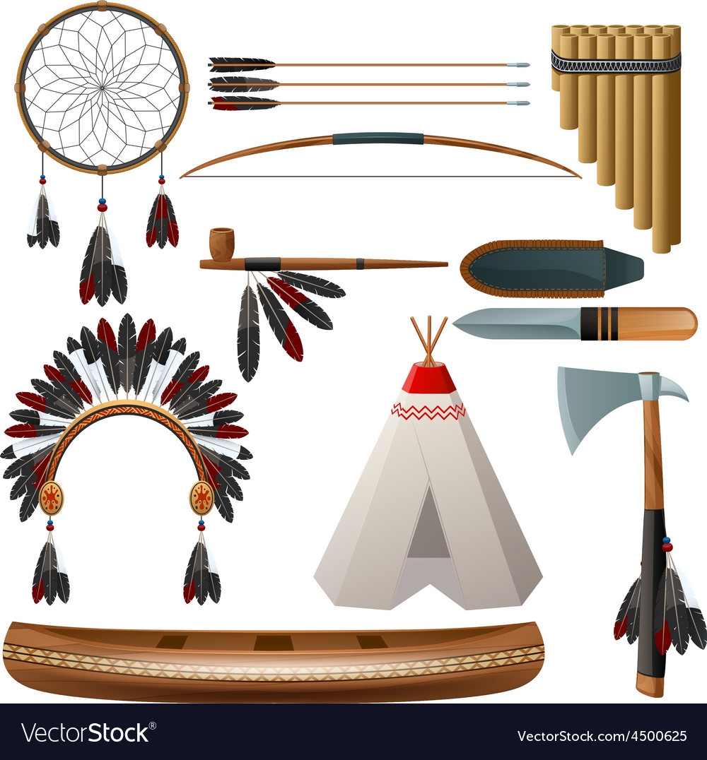 Ethnic american indigenous set vector | Price: 3 Credit (USD $3)