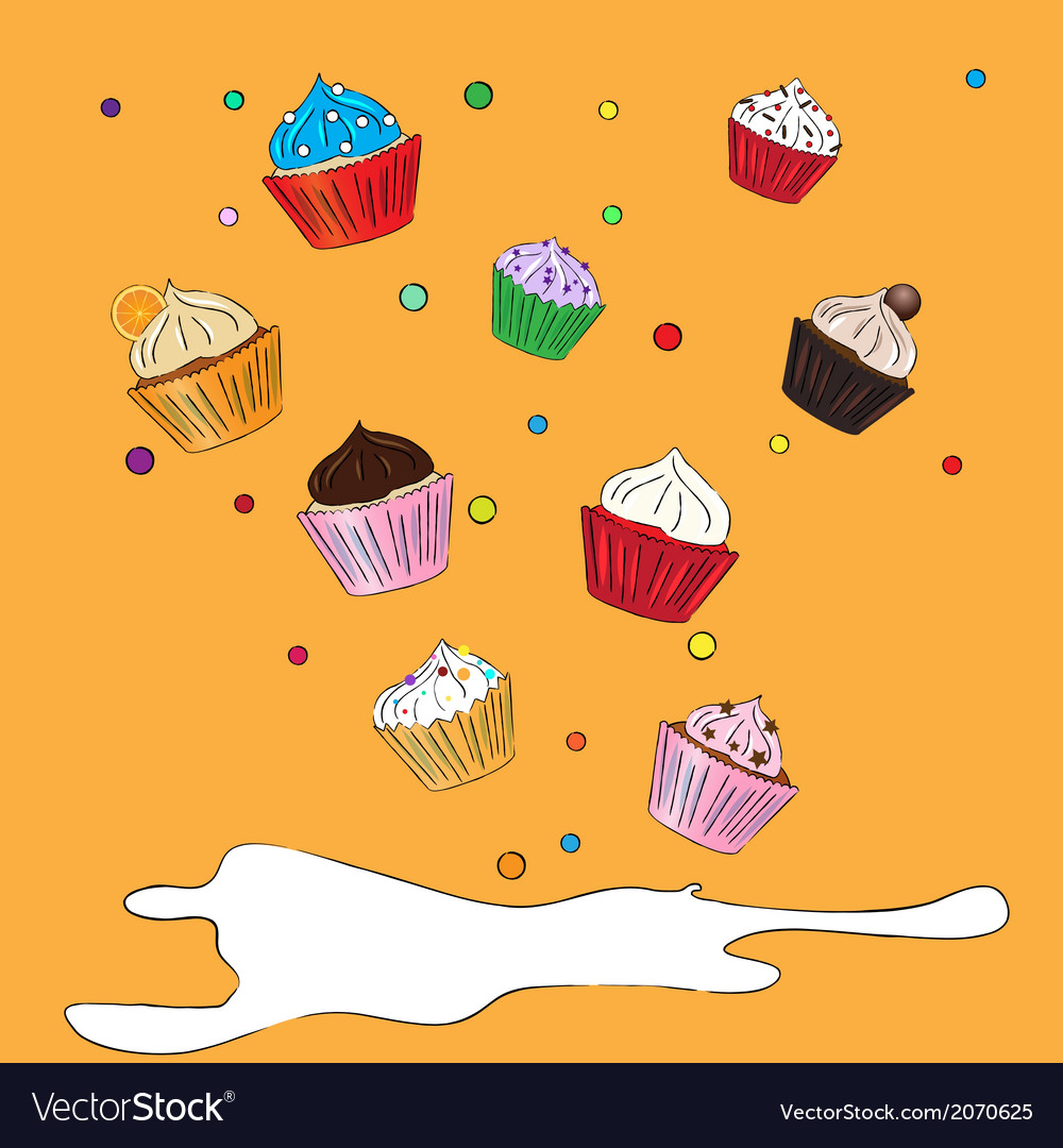 Fancy sketchy cupcakes background vector | Price: 1 Credit (USD $1)