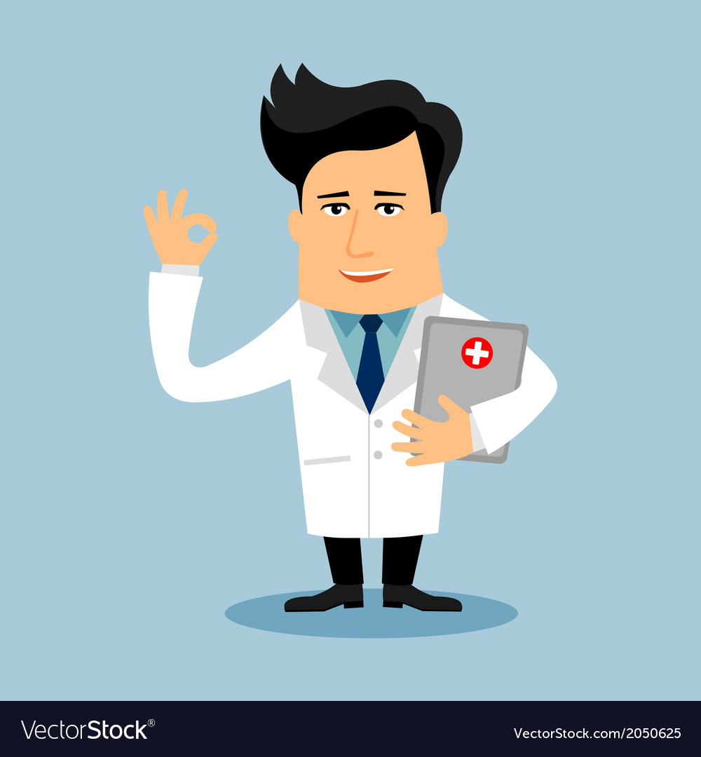 Friendly doctor flat cartoon character vector | Price: 1 Credit (USD $1)