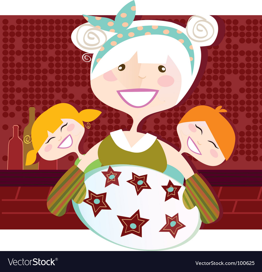 Grandmother with perfect cookies illu vector | Price: 1 Credit (USD $1)