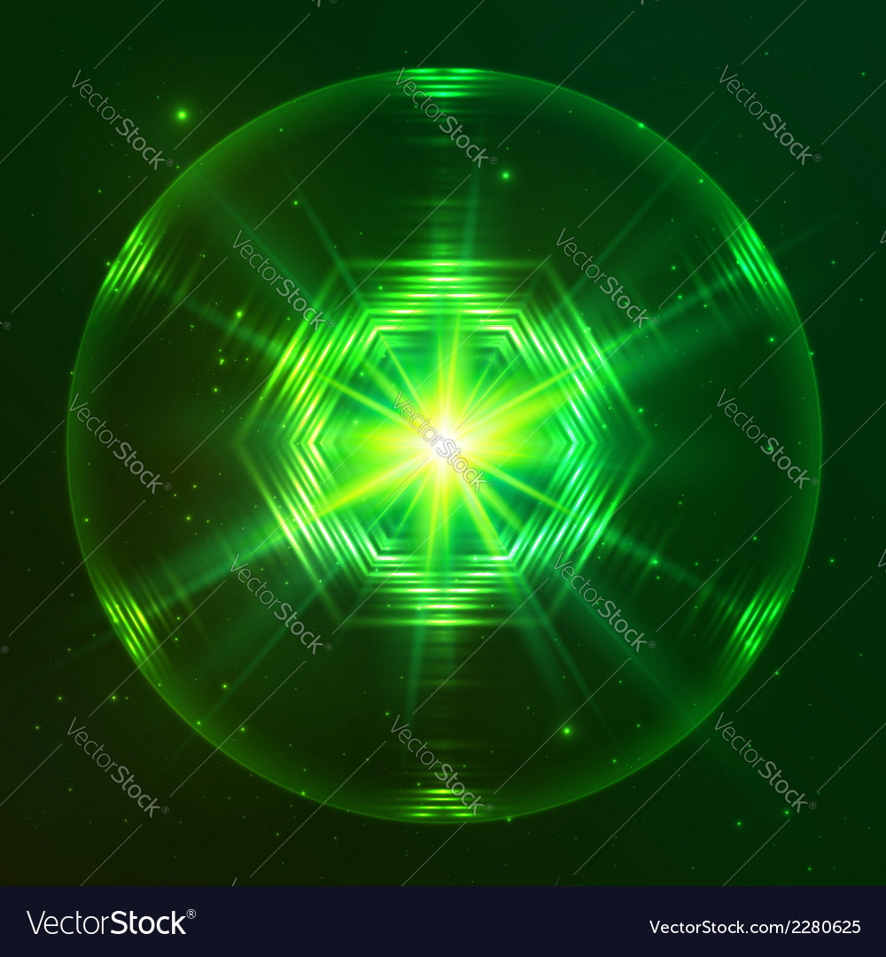 Green shining techno sphere vector | Price: 1 Credit (USD $1)