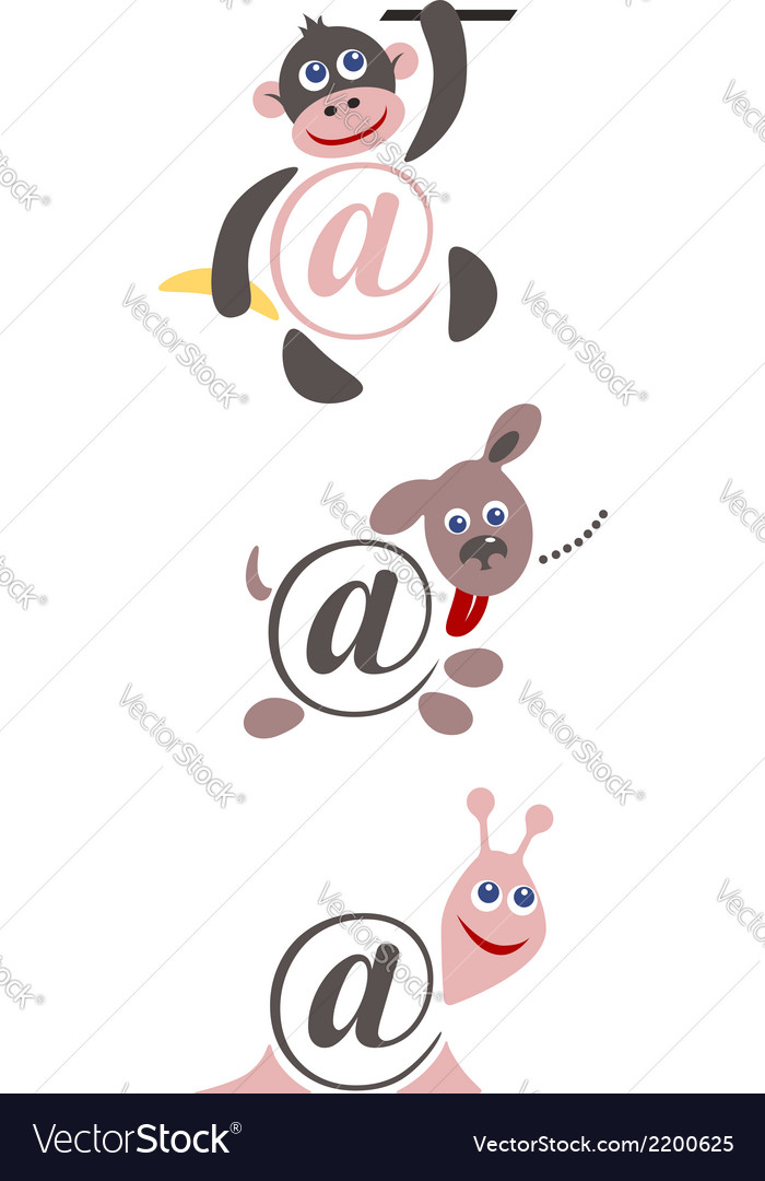 International sign email animals color vector | Price: 1 Credit (USD $1)