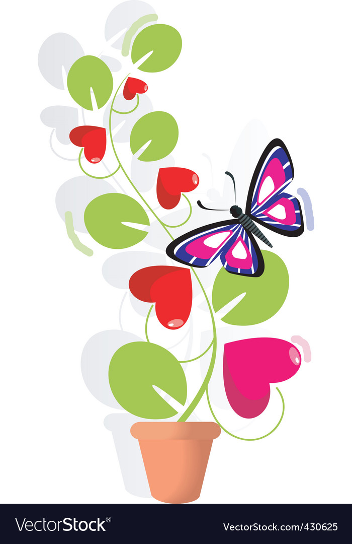 Love plant and butterfly vector | Price: 1 Credit (USD $1)