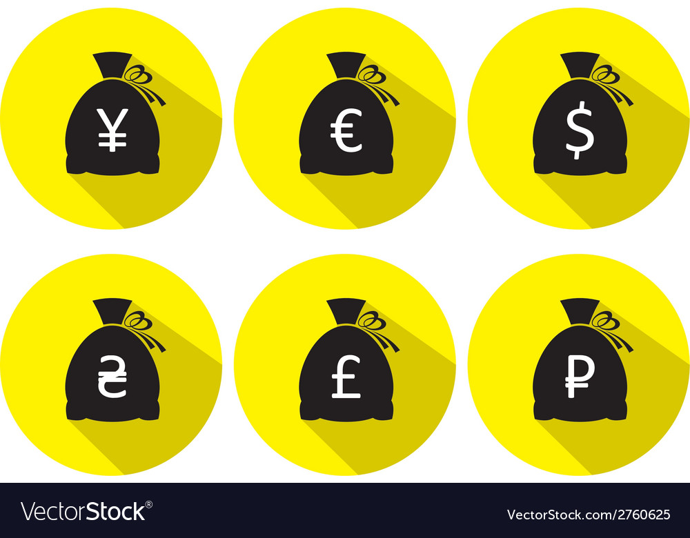 Money bag icon set with currency symbol flat vector | Price: 1 Credit (USD $1)