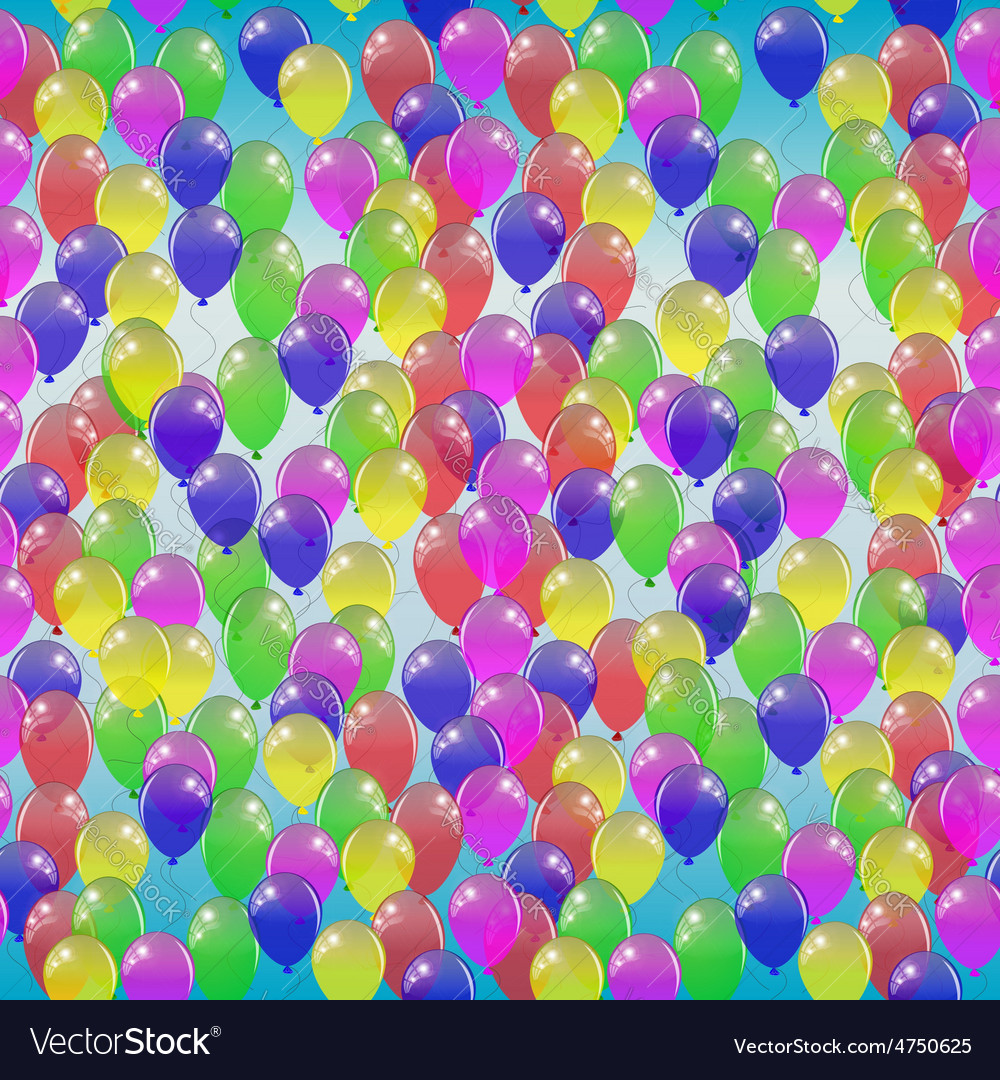 Seamless pattern of colorful balloons on a blue vector | Price: 1 Credit (USD $1)