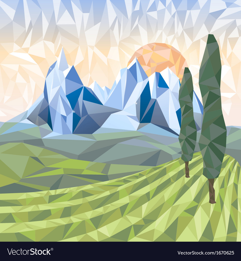 Stylized landscape vector | Price: 3 Credit (USD $3)