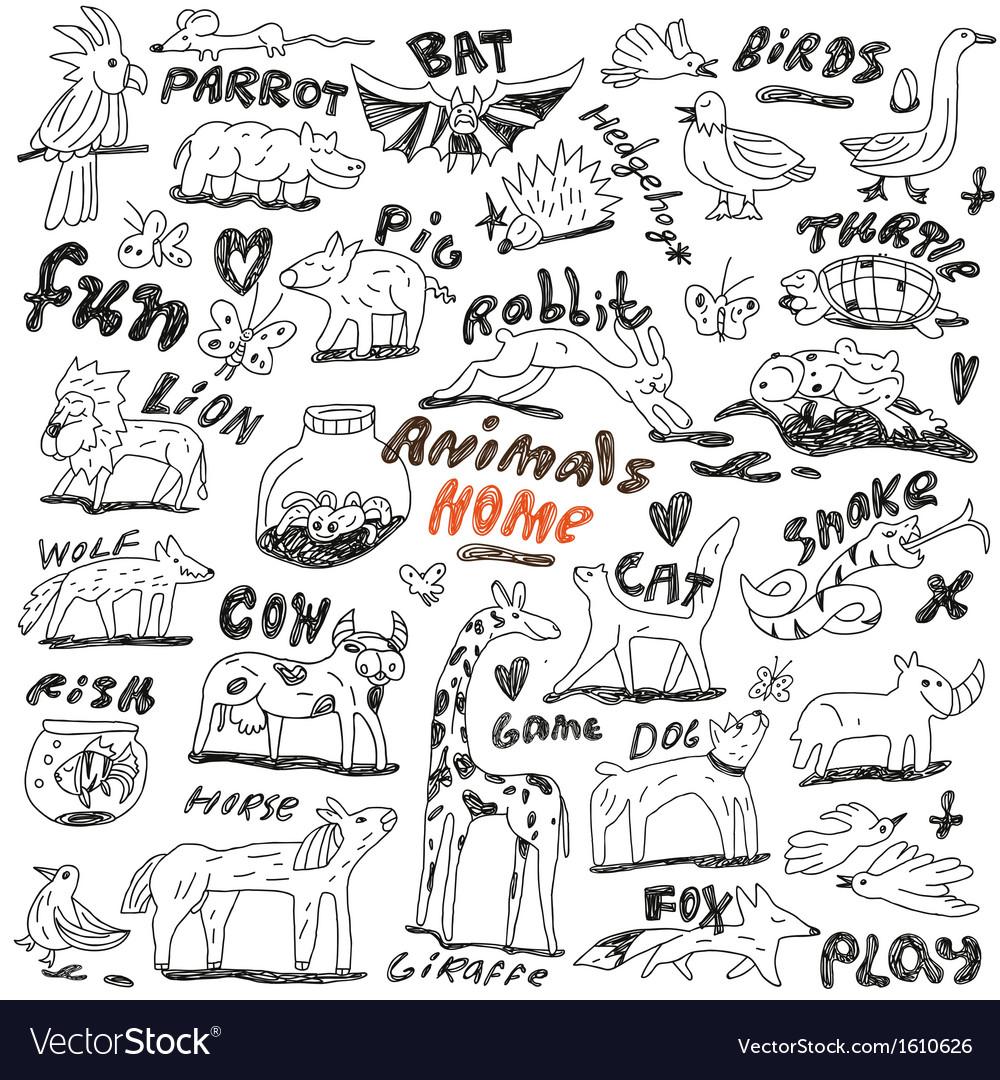 Animals - doodles vector | Price: 1 Credit (USD $1)