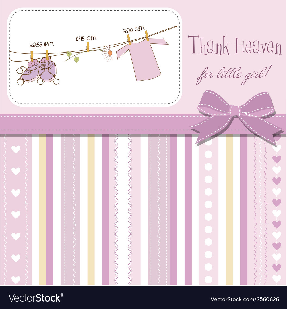 Baby girl shower announcement card vector   Price: 1 Credit (USD $1)