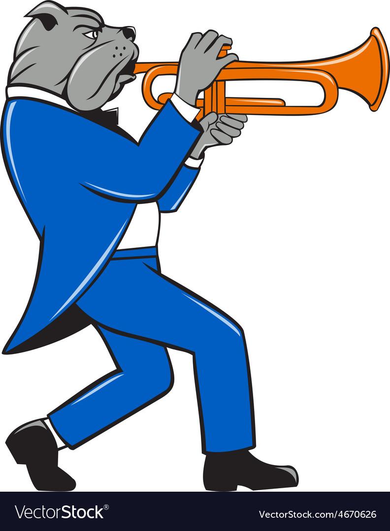 Bulldog blowing trumpet side view cartoon vector | Price: 1 Credit (USD $1)