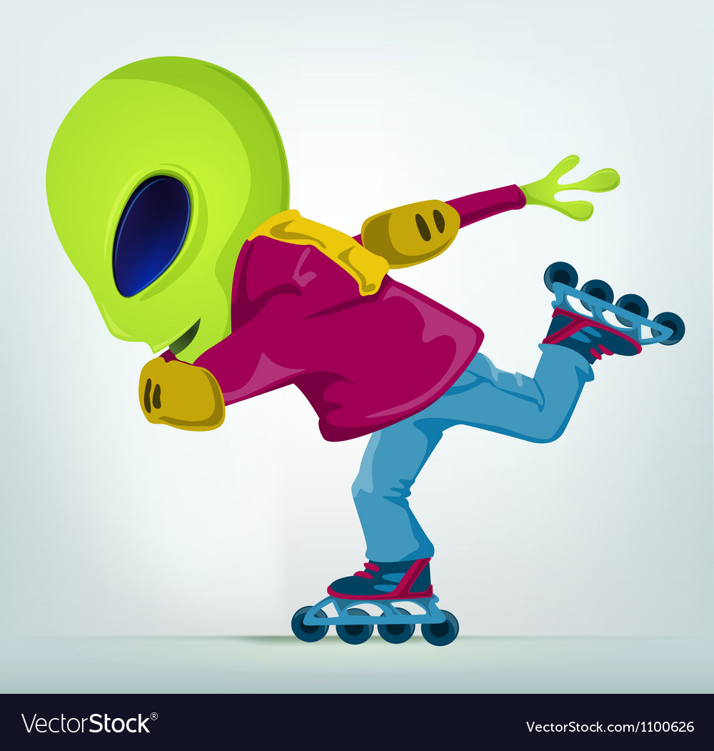 Cartoon alien rollerblade vector | Price: 1 Credit (USD $1)