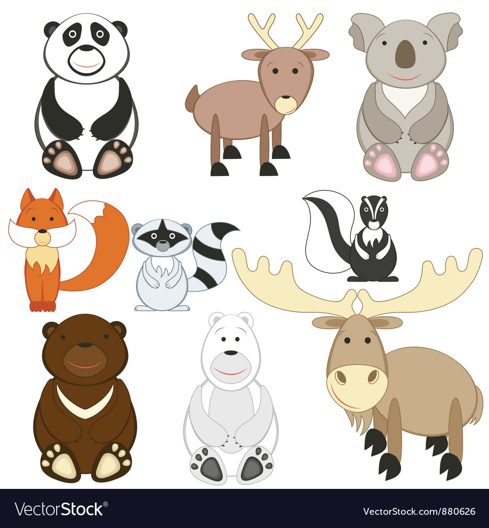 Cartoon animals set vector | Price: 1 Credit (USD $1)