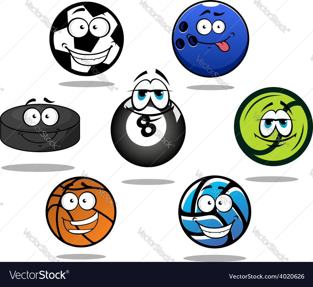 Cartoon sporting balls and puck characters vector | Price: 1 Credit (USD $1)