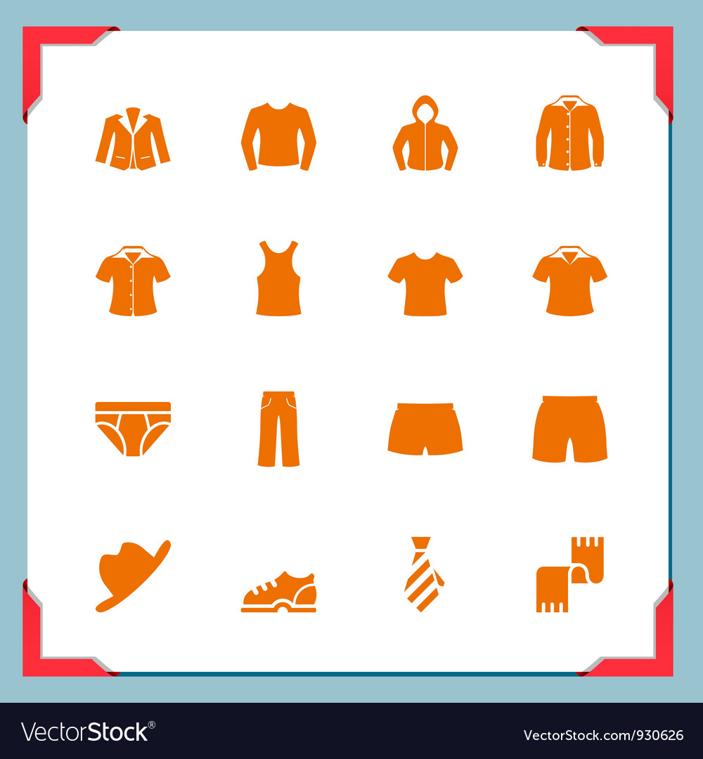 Clothes icons in a frame series vector | Price: 1 Credit (USD $1)