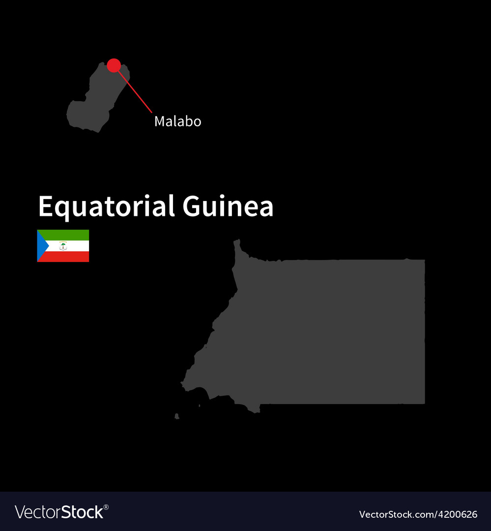 Detailed map of equatorial guinea and capital city vector | Price: 1 Credit (USD $1)