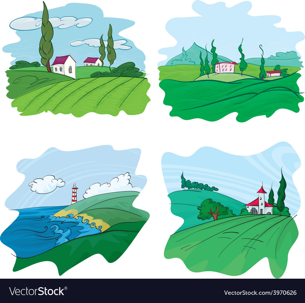 Four landscape vector | Price: 1 Credit (USD $1)