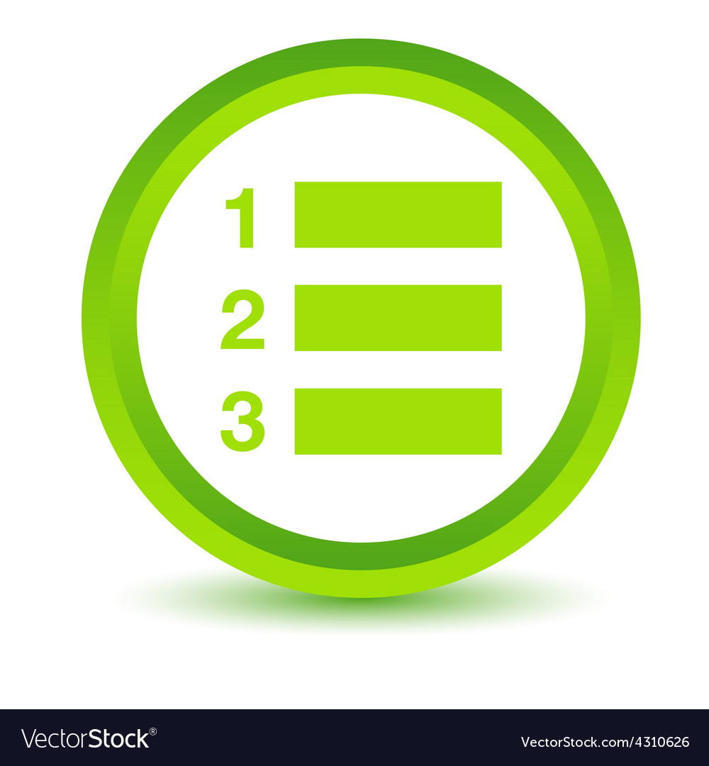 Green numbered list icon vector | Price: 1 Credit (USD $1)