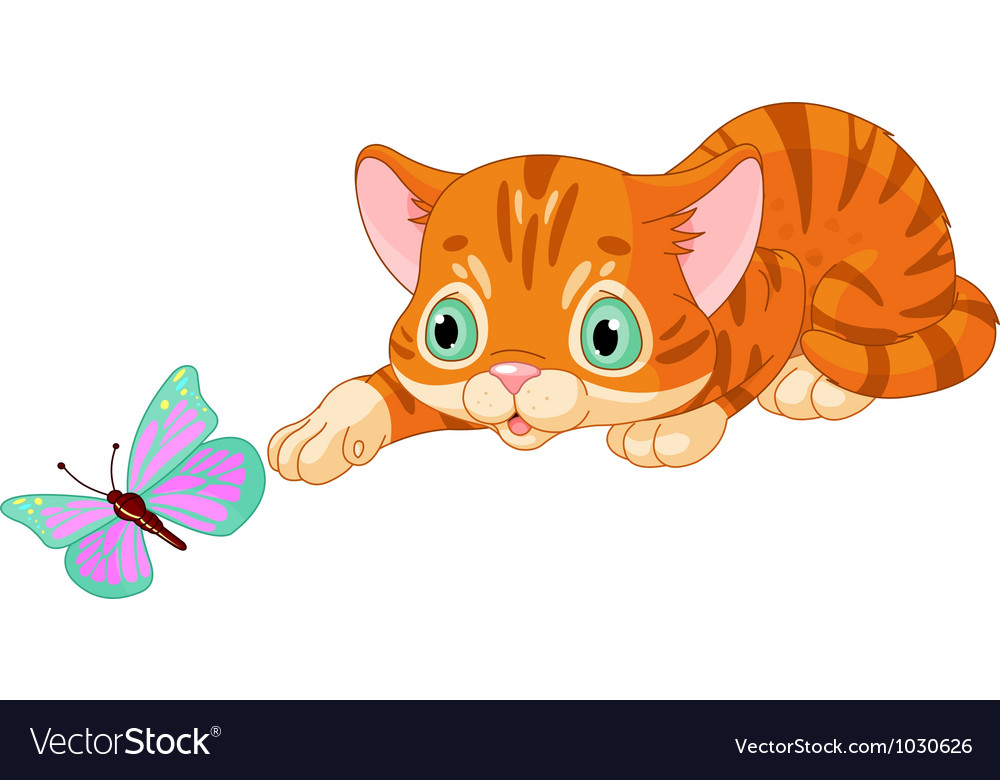 Kitten plays with the butterfly vector | Price: 3 Credit (USD $3)