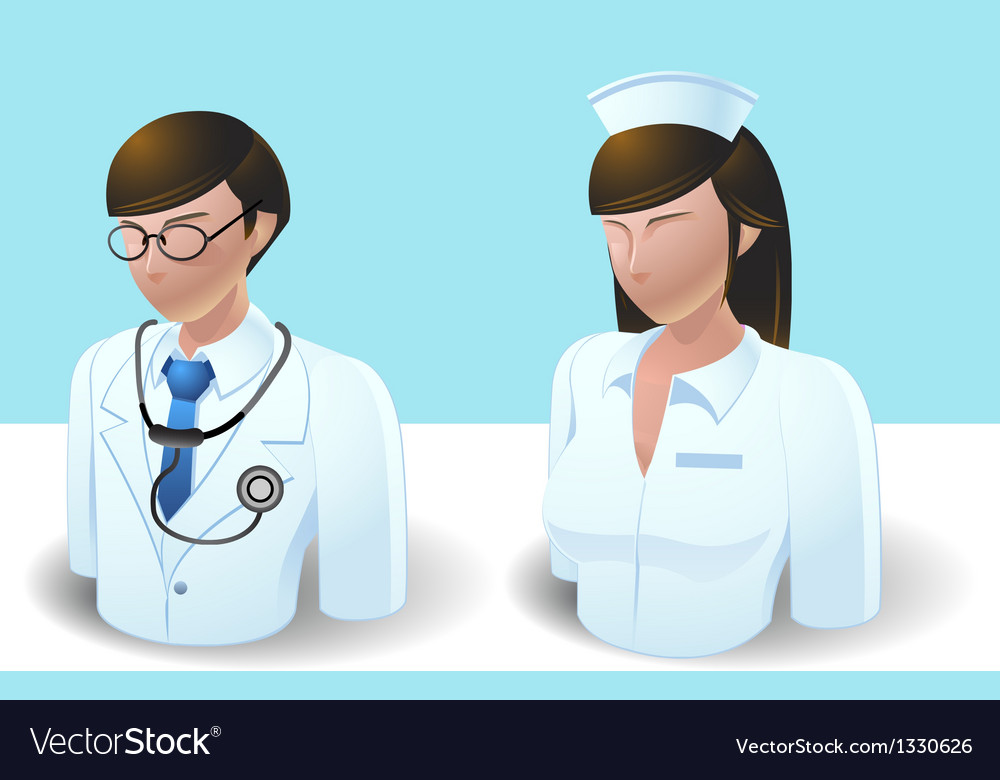 People icons doctor and nurse vector | Price: 3 Credit (USD $3)
