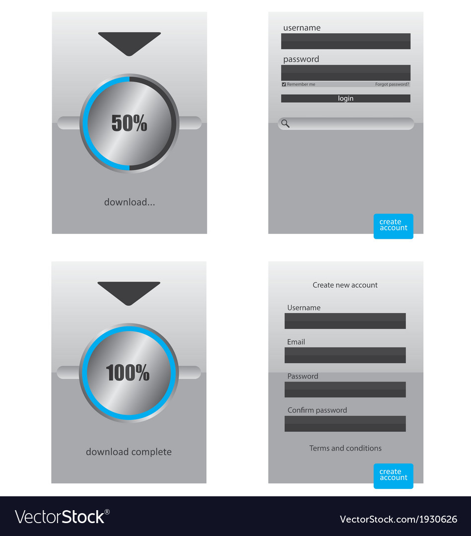 Round progress bar and register log in web element vector | Price: 1 Credit (USD $1)