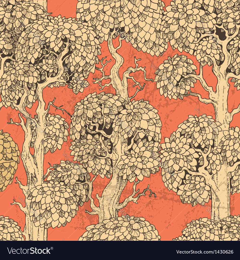 Seamless pattern of gold enchanted old trees vector | Price: 1 Credit (USD $1)