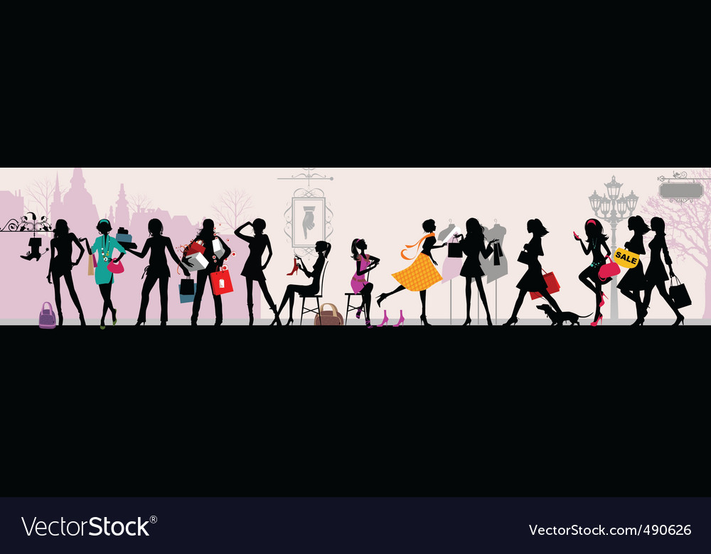 Shopping girls paris vector | Price: 1 Credit (USD $1)