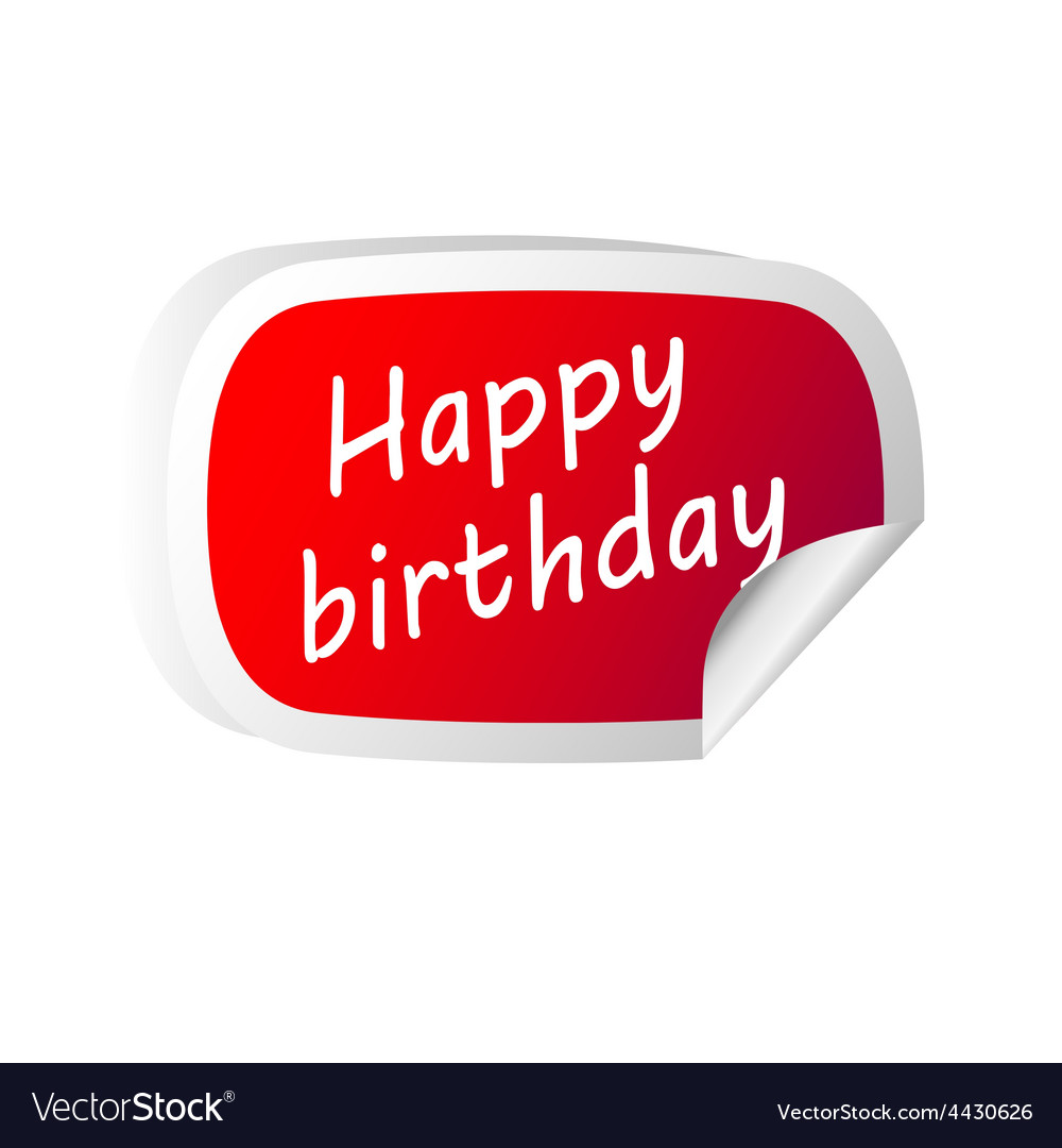 Sticker red with happy birthday message vector | Price: 1 Credit (USD $1)