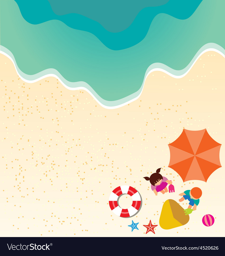 Summer holiday background with boy and girl vector