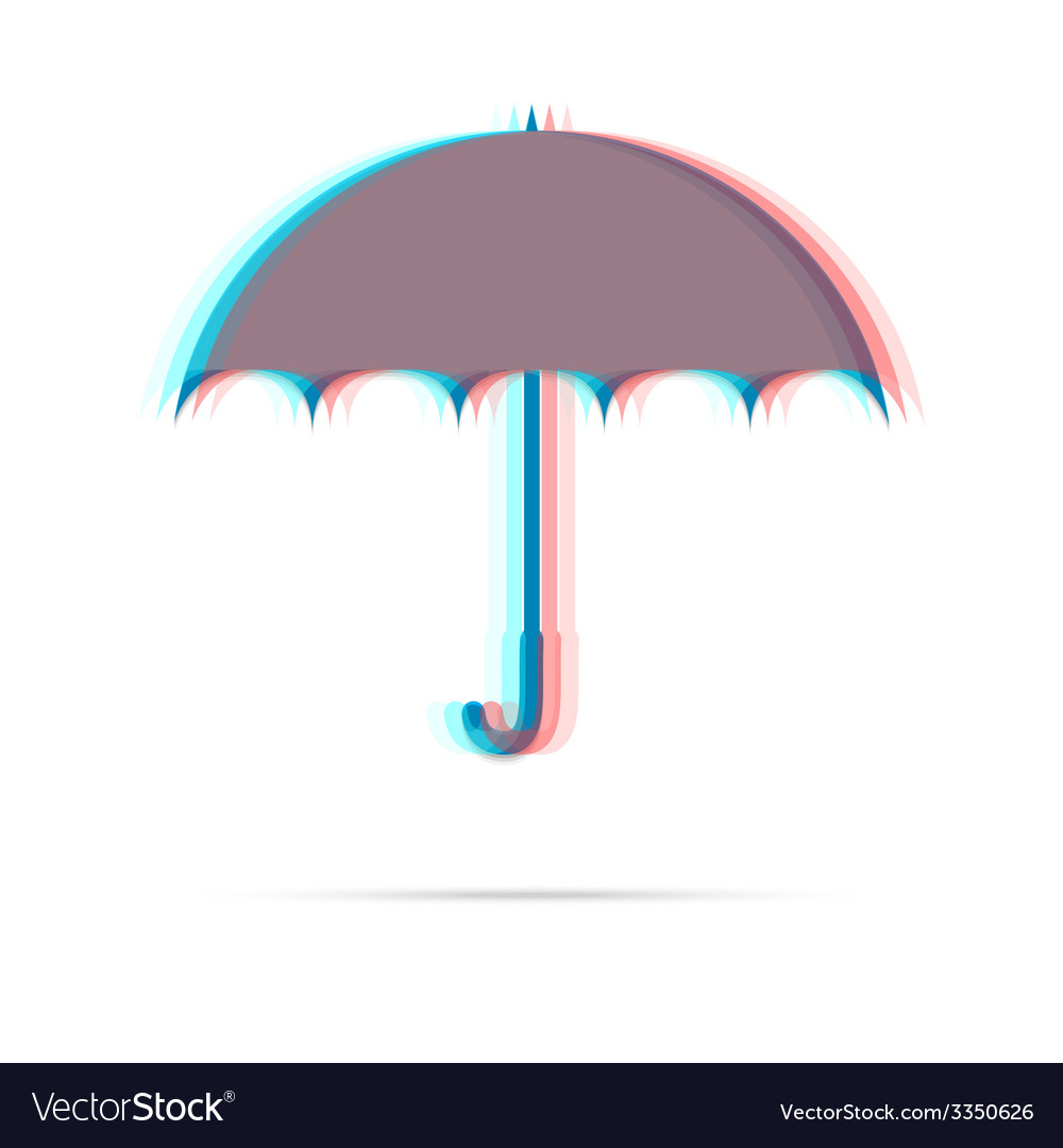 Umbrella anagliph icon with shadow vector | Price: 1 Credit (USD $1)