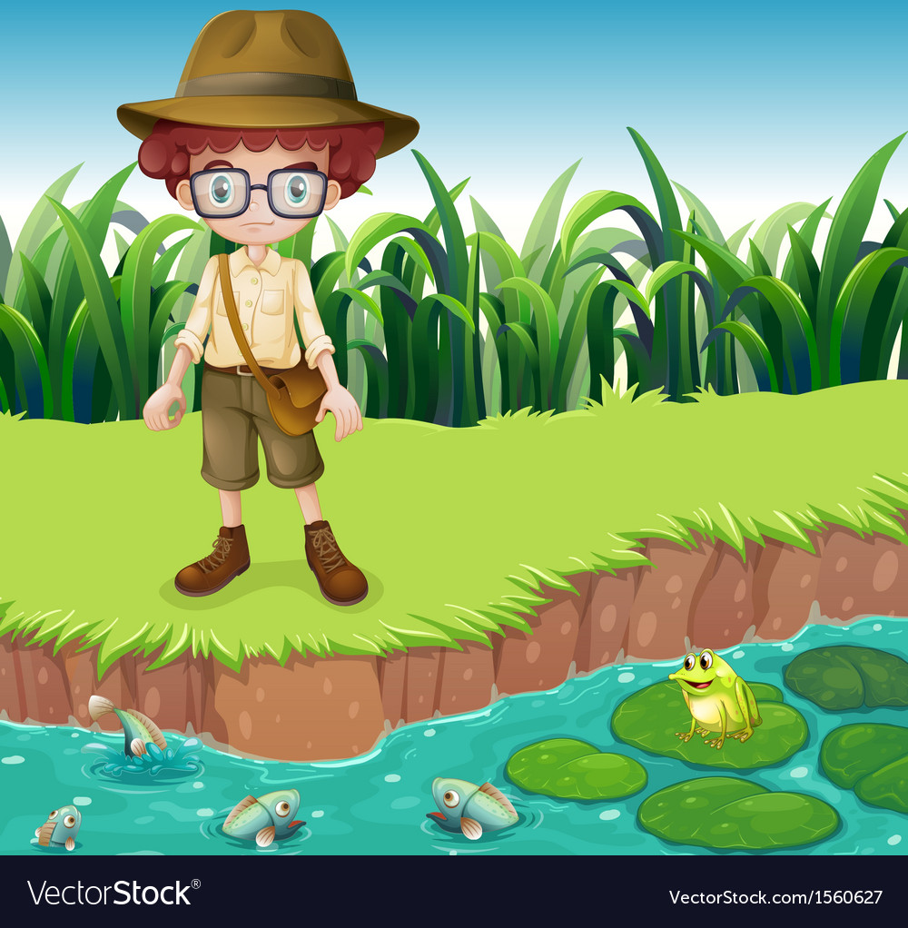 A serious looking boy at the riverbank vector | Price: 3 Credit (USD $3)