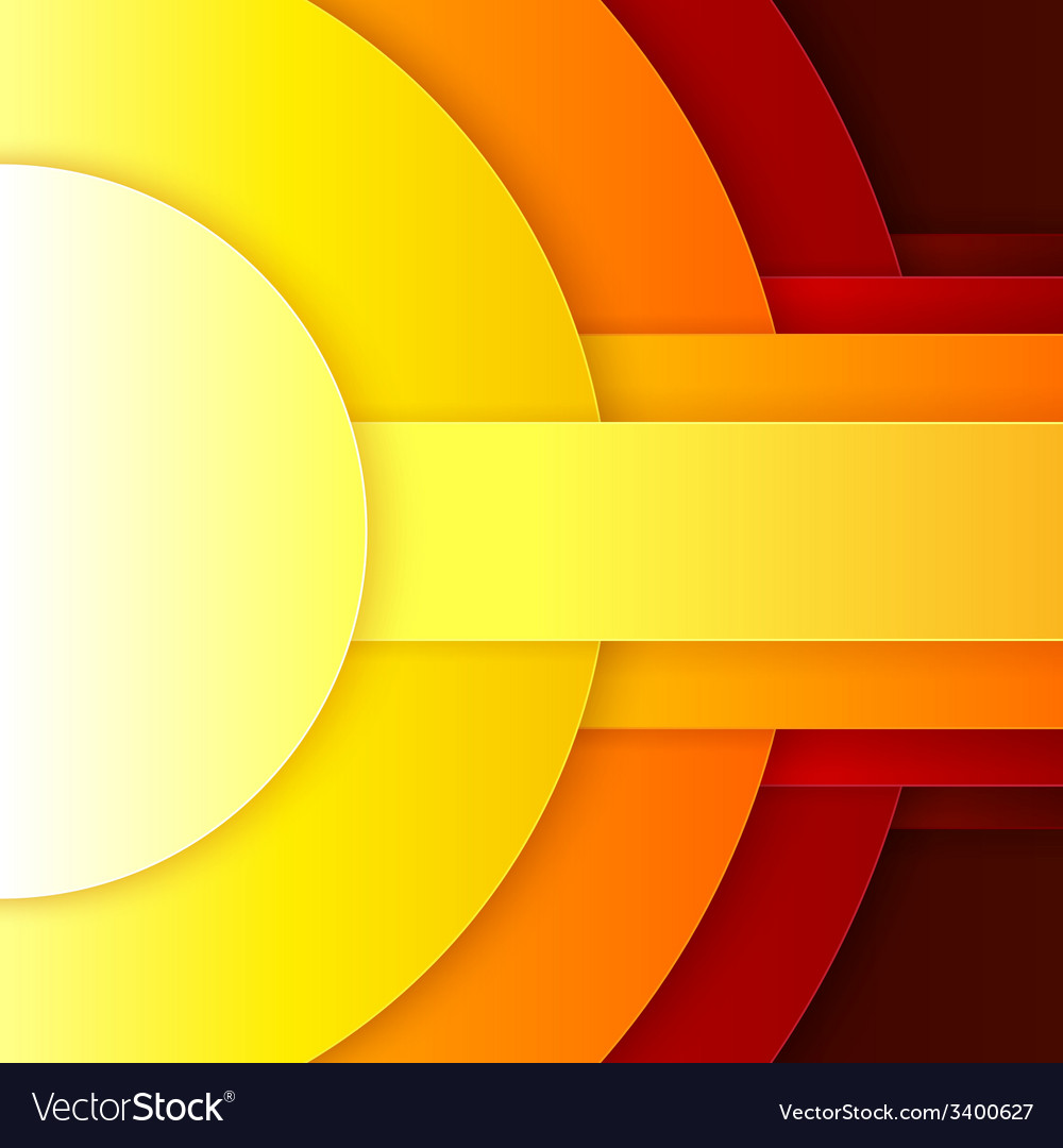 Abstract red orange and yellow paper round shapes vector | Price: 1 Credit (USD $1)