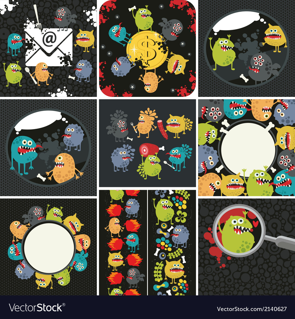 Big set of with cute monsters vector | Price: 1 Credit (USD $1)