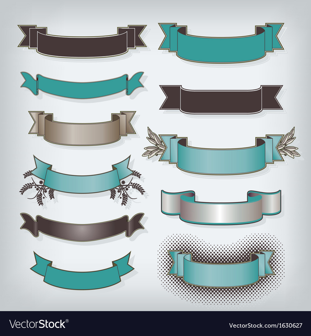 Eleven banners in teal vector | Price: 1 Credit (USD $1)