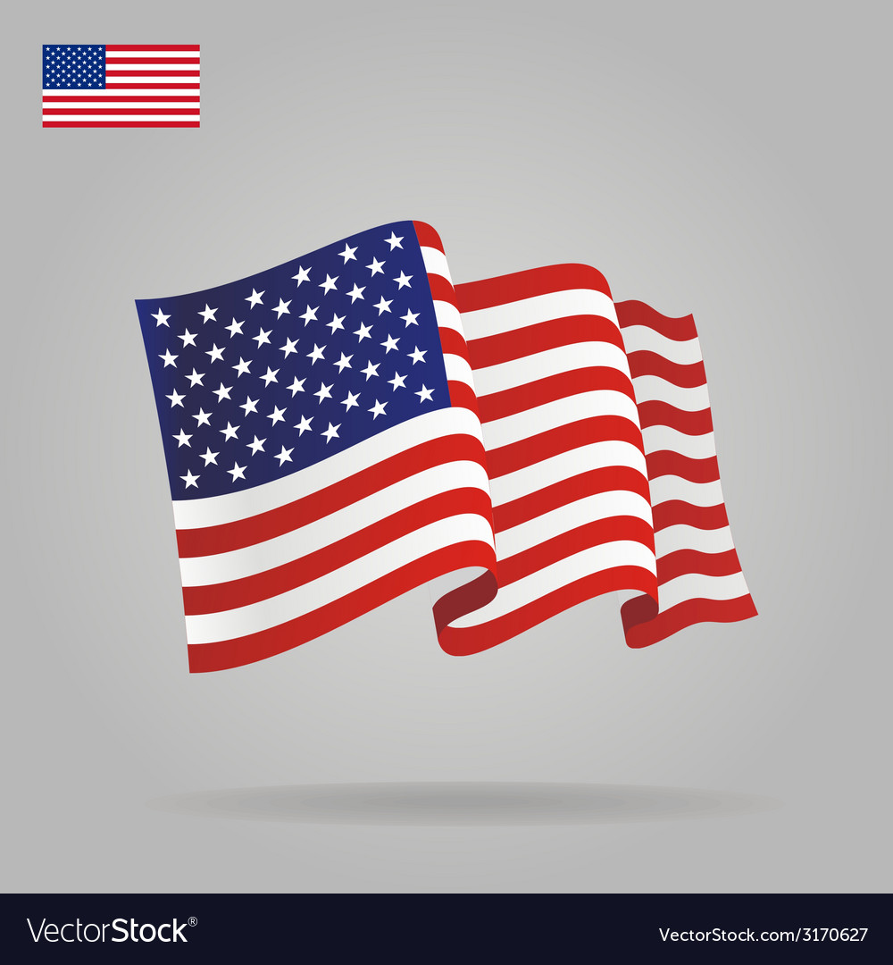 Flat and waving american flag vector | Price: 1 Credit (USD $1)
