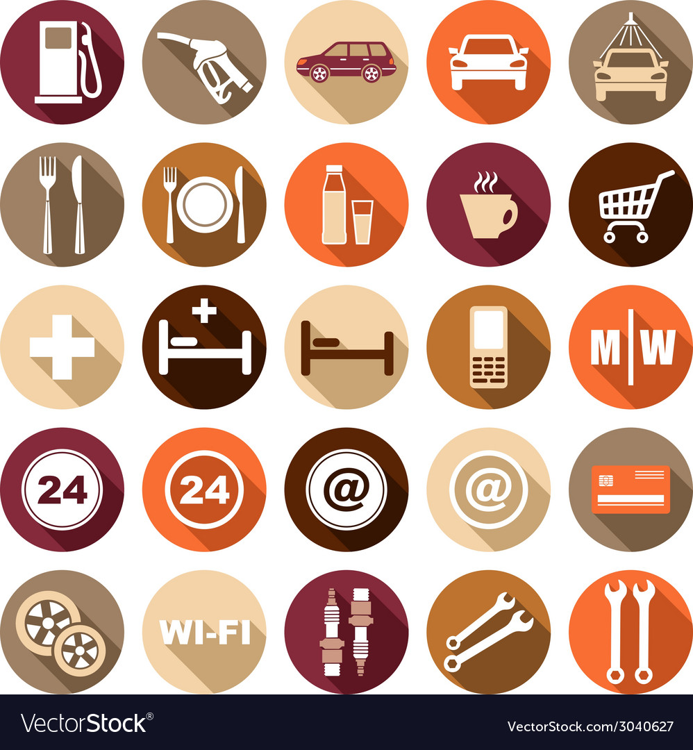 Flat icons of gas station vector | Price: 1 Credit (USD $1)