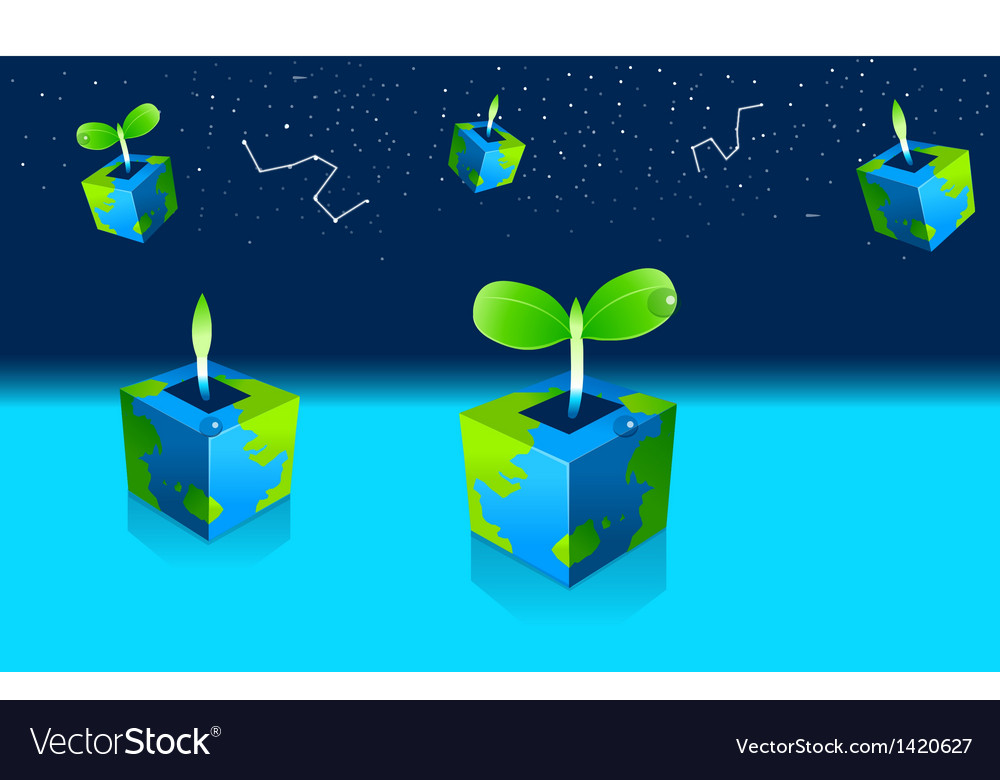 Potted seedling plant and astrology sign in sky vector | Price: 1 Credit (USD $1)