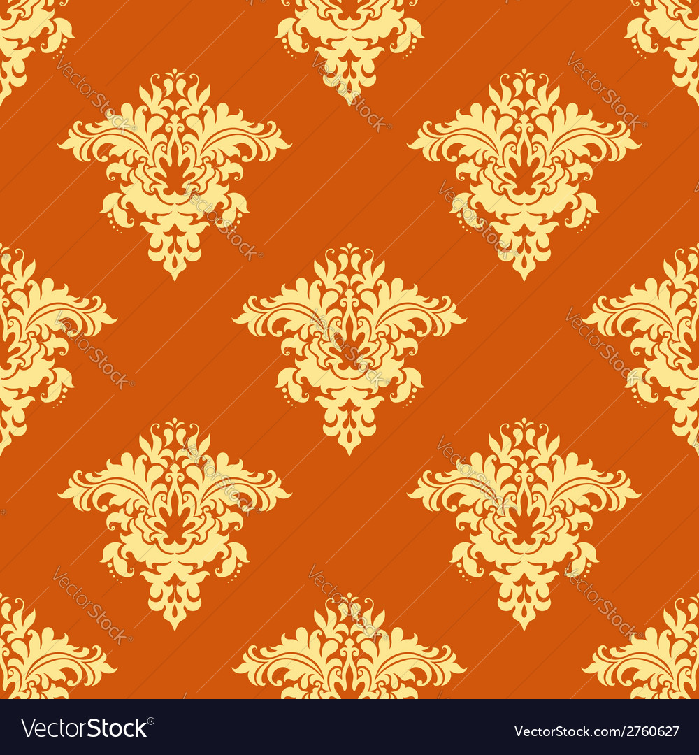 Retro yellow and orange floral seamless pattern vector | Price: 1 Credit (USD $1)