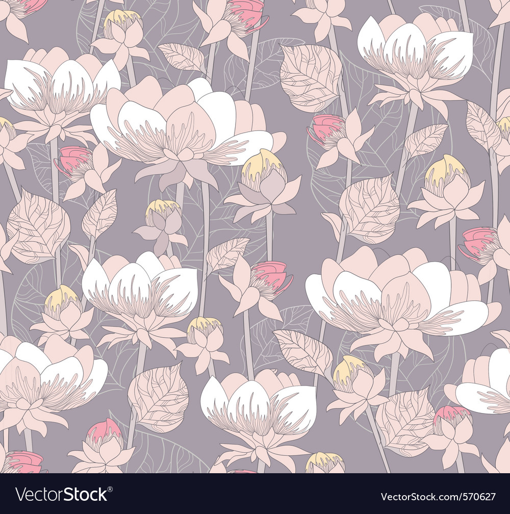 Seamless pastel floral pattern vector | Price: 1 Credit (USD $1)